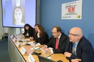 Pressekonferenz am 6. Mai 2015 in Berlin, v. l. Dr. Silke Lüder, Wieland Dietrich, Daniela Schmidt, Dr. Thomas Drabinski, Dr. Dirk Heinrich (Foto: Manfred Wigger)